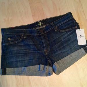 7 for all Mankind dark wash denim shorts NWT